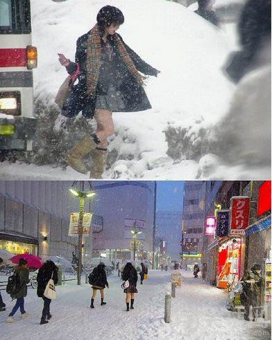 日本妹纸不怕冷··