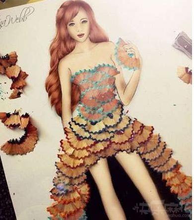 笔屑做成的裙子